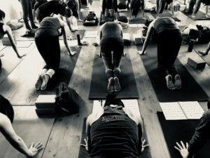 Yoga Oasis class, table position