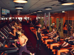 Treadmill and cycling Orange Theory class