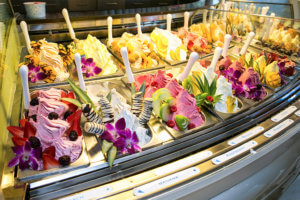 Frost gelateria display case with flavors